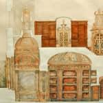Plano de sección de la cripta y altar mayor de San Francisco